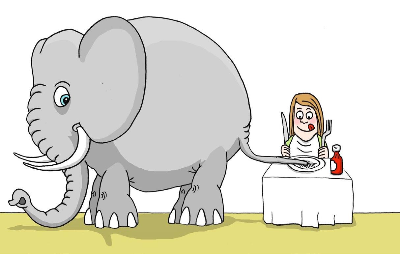 jobsøgning motivation elefant spis en bid af gangen