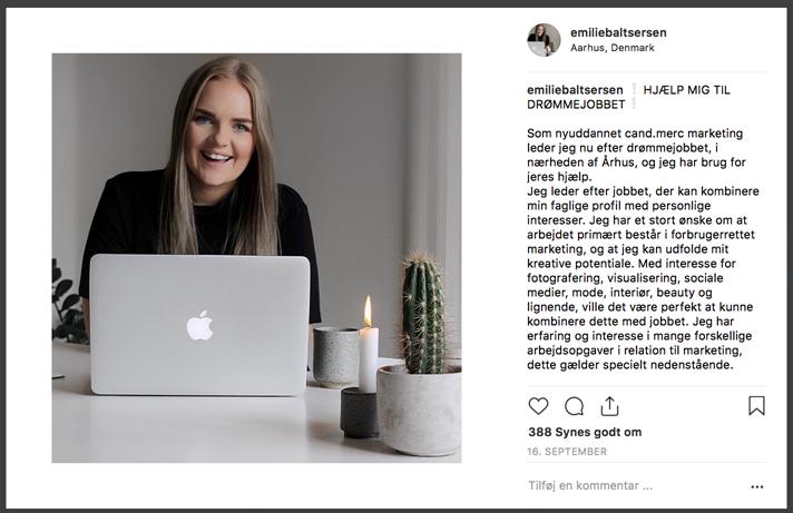 Jobsoegning sociale medier Instagram
