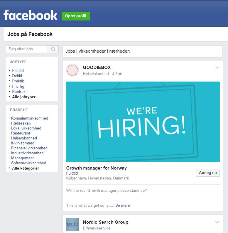 Facebook Jobøsgning